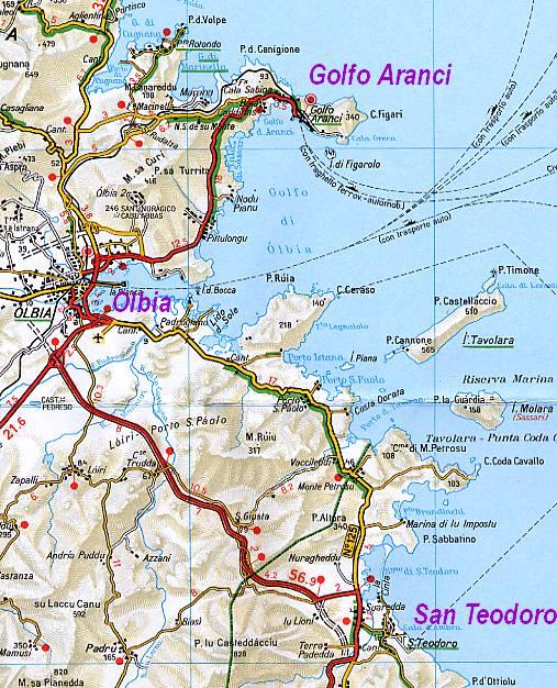 Mappa Km Sardegna.Dove Andare